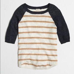 J. Crew Airspun Striped Baseball Sweater Stripe Lg